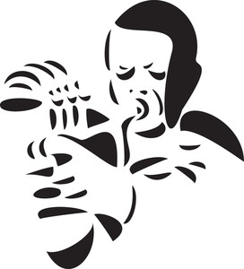 Illustration Of A Man Playing A Jazz Musical Instrument.