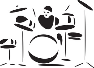Illustration Of A Man Playing Drums.