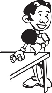 Illustration Of A Man Playing Table Tennis.