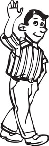 Illustration Of A Man Saying Goodbye.