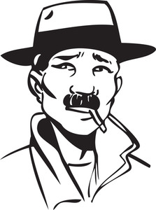 Illustration Of A Man Smoking Cigarette.