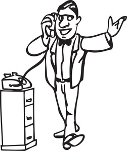 Illustration Of A Man Speaking In Phone.