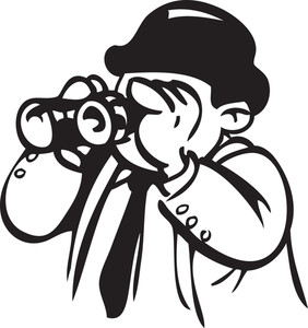 Illustration Of A Man Watching Through Binocular.