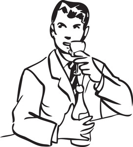 Illustration Of A Man With Alcohol Bottle And Glass.