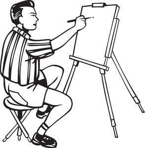 Illustration Of A Man With Brush And Blank Canvas.