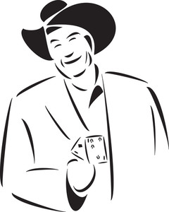Illustration Of A Man With Cards.