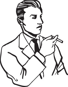 Illustration Of A Man With Cigarette.