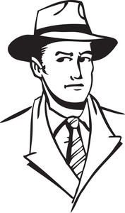 Illustration Of A Man With Cowboy Hat.
