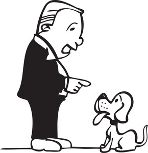 Illustration Of A Man With Dog.