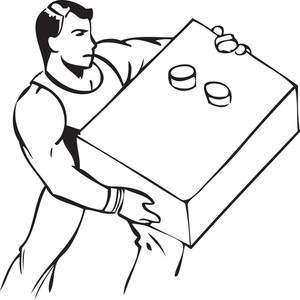 Illustration Of A Man With Heavy Box.