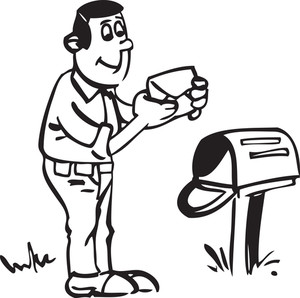 Illustration Of A Man With Letter And Mailbox.
