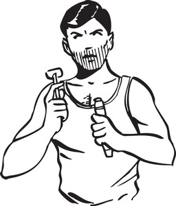 Illustration Of A Man With Razor And Shaving Cream.