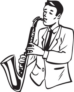 Illustration Of A Man With Saxophone.
