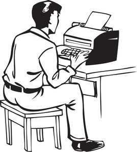 Illustration Of A Man With Typewriter.