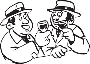 Illustration Of A Men Drinking Alcohol.