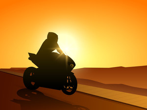 Illustration Of A Motorbike Racing