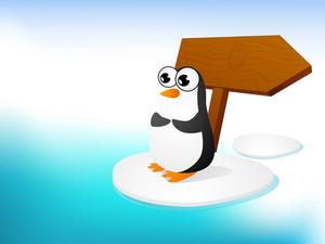 Illustration Of A Penguine At Seaside.