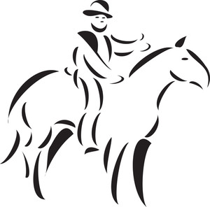 Illustration Of A Pioneer Man Riding Horse.