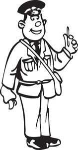 Illustration Of A Postman With Bag.