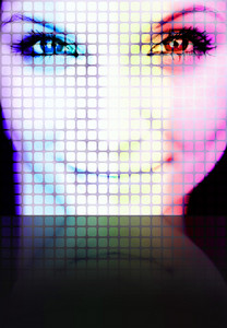 Illustration of a pretty womans face on a large digital screen with reflection on to the floor. Plenty of copy space for your text.
