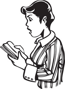Illustration Of A Retro Boy Reading A Book.