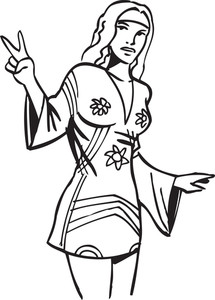 Illustration Of A Retro Girl Showing Victory Sign.