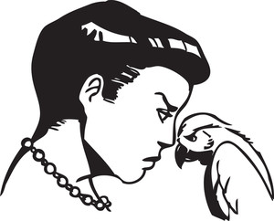 Illustration Of A Retro Girl With Parrot.