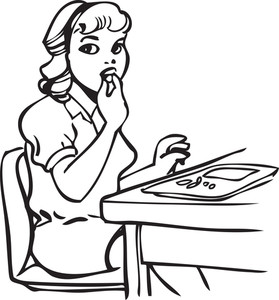 Illustration Of A Retro Lady Eating Food.