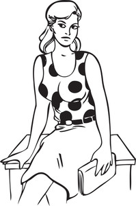 Illustration Of A Retro Lady With A Book.