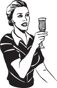 Illustration Of A Retro Lady With Alcohol Glass.