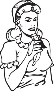 Illustration Of A Retro Lady With Banana.