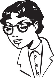 Illustration Of A Retro Lady With Eyeglasses.