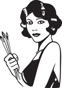 Illustration Of A Retro Lady With Paint Brushes.