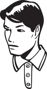 Illustration Of A Retro Man Face.