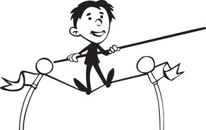 Illustration Of A Rope Walker With Stick.