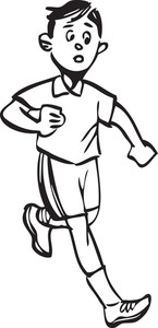 Illustration Of A Running Boy.
