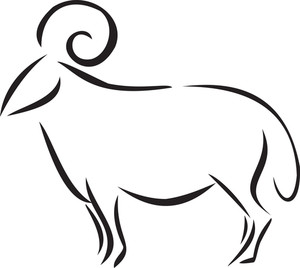 Illustration Of A Sheep With Curly Horns.