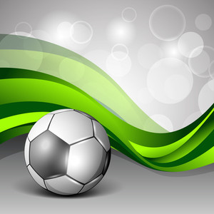 Illustration Of A Shiny Sccor Football On Creative Abstract Green Wave Background.