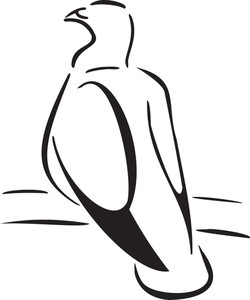 Illustration Of A Sitting Bird.