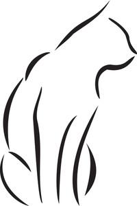 Illustration Of A Sitting Cat.