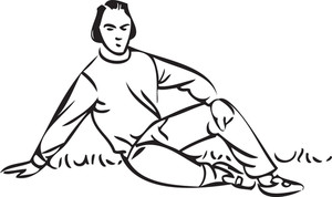Illustration Of A Sitting Man.