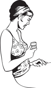 Illustration Of A Smiling Lady With Alcohol Glass.