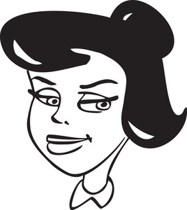 Illustration Of A Smiling Retro Girl.