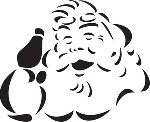 Illustration Of A Smiling Santa Claus Face.