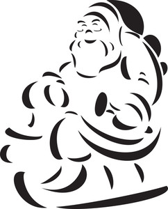 Illustration Of A Smiling Santa Claus Riding His Sledge.