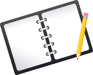 Illustration Of A Spiral Notebook And Pencil