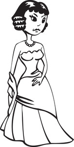 Illustration Of A Stylish Girl In Gown.