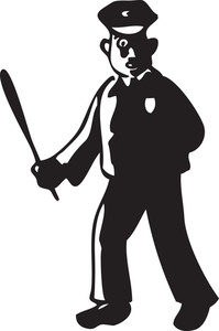 Illustration Of A Traffic Police Officer With Stick.