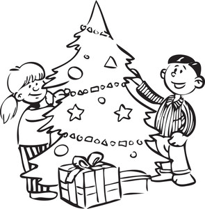 Illustration Of A Two Kid With Gifts And Christmas Tree.