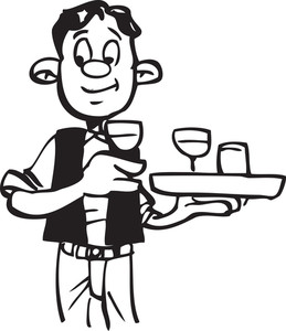 Illustration Of A Waiter With Tray.